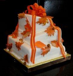 Fall Theme Topsy Turvy Wedding Cake