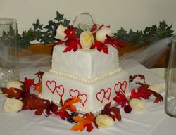 Red Hearts Wedding Cake