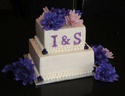 2 Tiered Monogram Wedding Cake