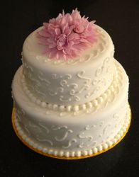 2 Tiered Scrollwork Wedding Cake