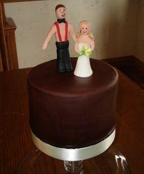 Fondant Bride & Groom On Chocolate Fondant Cake