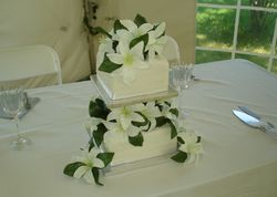 2 Tiered Square Wedding Cake and Lilies