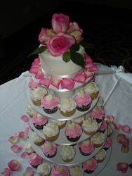 Tower of  Cupcakes & Pink Roses