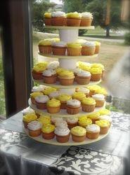 Lemon Yellow & White Wedding Cupcakes