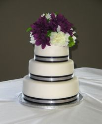 3 Tiered Wedding Cake with Black & Silver