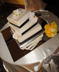 3 Tiered Wedding cake with White orchids
