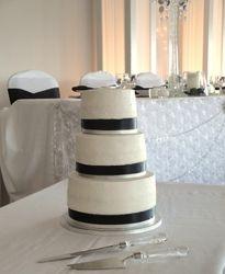 3 Tiered Black and White Wedding Cake