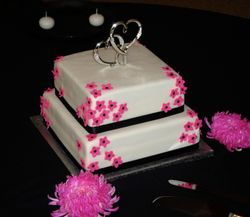 2 Tiers with Bright Pink Blossoms