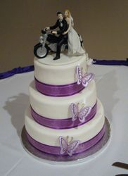 3 Tiered Wedding Cake with Motorcycle Bride & Groom