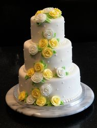 3 Tiered Wedding Cake with Cascade of Yellow and White Roses