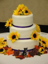 3 Tiered Wedding Cake with Sunflowers