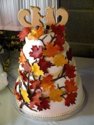 3 Tiered Autumn Themed Wedding Cake