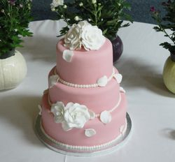 3 Tiered Dusty Rose & Roses