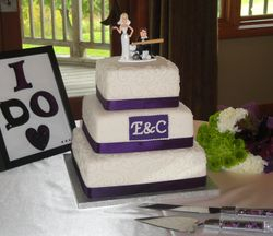 3 Tiered Wedding Cake with Plum Accents