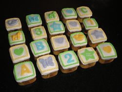 Baby Blocks Baby Shower Square Cupcakes