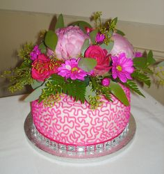 Wedding cake with Bling and Hot Pink