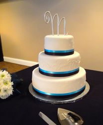 3Tiered Wedding Cake Teal & Black Accents