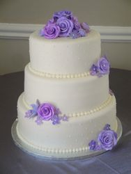 3 Tiered Wedding cake with sugar flowers