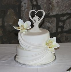 2 Tiered Wedding Cake with Swags and Orchids