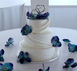 3 Tiered Wedding Cake with Fondant Swags