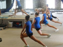St. Francis Pom Team training