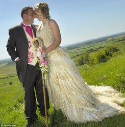 Wool Wedding Dress and Wool Waist Coat.
