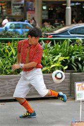 Freestyle Football on Singapore Orchard Road.