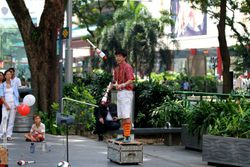 Juggling on Singapore Orchard Road.