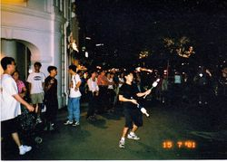 Juggling at Singapore Clarke Quay.