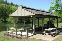 Covered Picnic Area by Lake