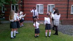 Evening choir practice outside