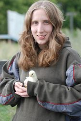 Myself with a baby chicken