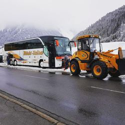 It snowed a bunch, and the bus had to get towed out!
