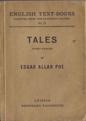 I22 English Text-Books.  Tales by Edgar Allann Poe.  First Series