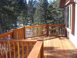 Redwood decking off the dining room