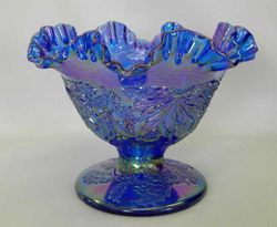 Fenton Christmas compote, ruffled, blue