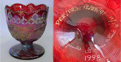 Fenton Christmas compote, hand painted, red