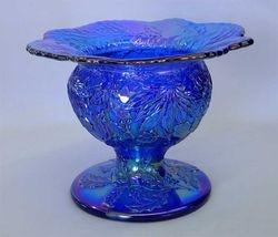 Fenton Christmas compote, blue