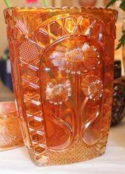 Asters vase by Brockwitz in marigold