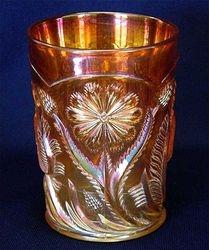 Field Thistle tumbler, marigold, US Glass