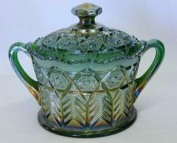 Inverted Feather cracker jar, green, Cambridge Glass USA