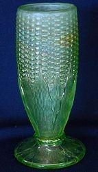 Corn vase, stalk base, ice green