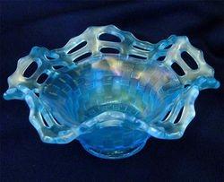 Basket Weave open edge ruffled bowl, celeste blue
