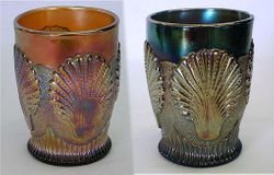 Beaded Shell tumblers, amethyst and blue