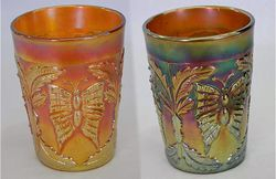 Butterfly and Fern tumblers, marigold and amethyst