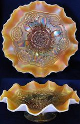 Double Stem Rose dome ftd ruffled bowl, peach opal