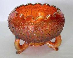 Fenton's Flowers rose bowl, red