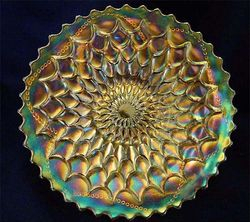 "Fishscale and Beads 7"" plate, marigold"