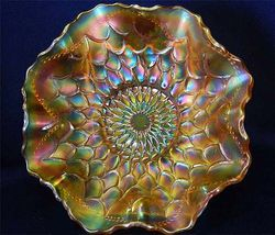 "Fishscale and Beads 6"" ruffled bowl, marigold"