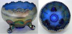 Horse Medallion, ftd rose bowl, blue